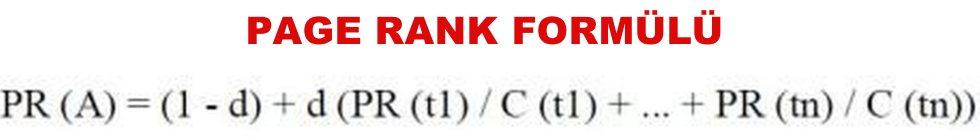 page rank formülü