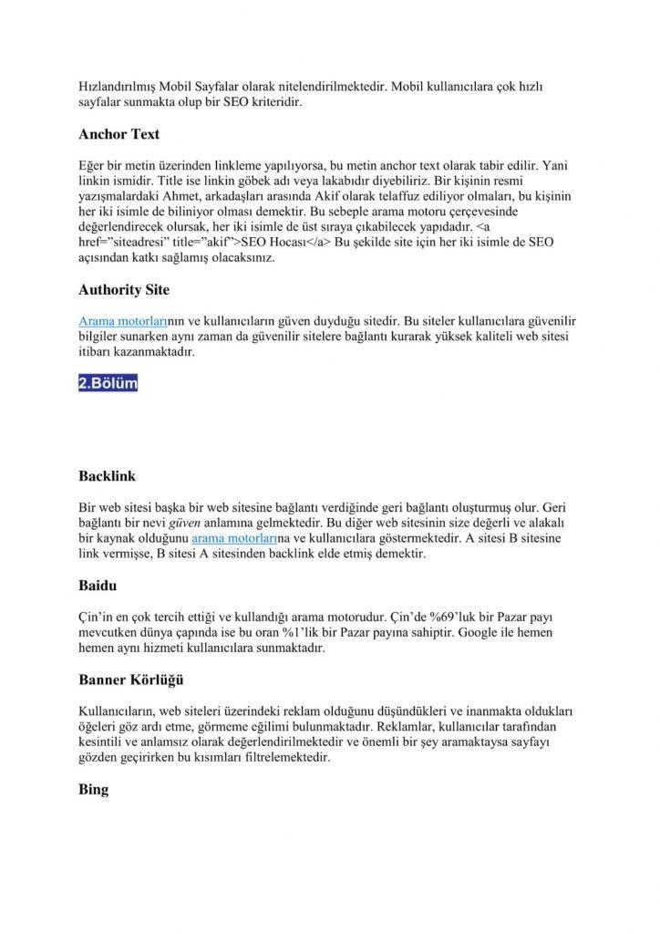 SEO terimleri - SEO Sözlük